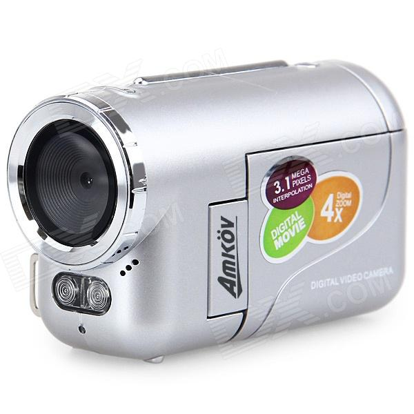"Amkov DV136 1,5 ""LCD 3.1 MP CMOS HD digitaalinen videokamera w / 4x digitaalinen zoom, USB, AV / SD - hopea"