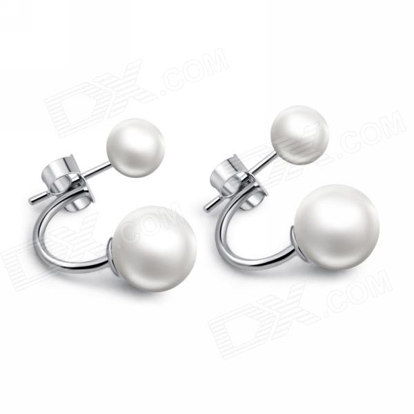 EQute ESIW6C1 S925 Sterling Silver Shell Pearl Women's Earrings - White + Silver (2 PCS) for lenovo s300 s310 brand new silver palmrest c shell
