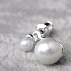 EQute ESIW6C1 S925 Sterling Silver Shell Pearl Women's Earrings - White + Silver (2 PCS)
