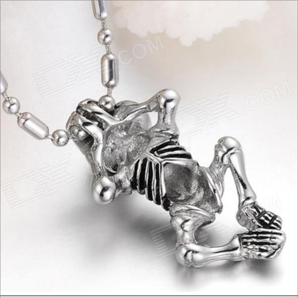 GX562 Magic Skeleton Frame 316L Stainless Steel Men's Necklace - Silver diy fashionable retro style 316l stainless steel angel shaped necklace pendant silver