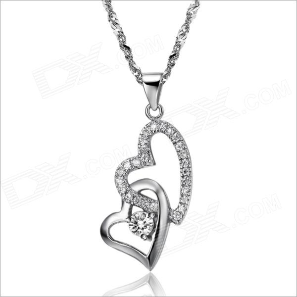 DX096 Heart-Shaped Platinum Plated Women's Necklace - Silver silver necklace jewelry hollow heart shaped pocket watch necklace pendant chain quartz watches clock women gift ll 17