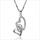 DX096 Heart-Shaped Platinum Plated Women's Necklace - Silver