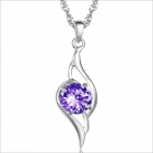 DX024 Stylish Rhinestones Plated Platinum Women's Necklace - Silver + Purple