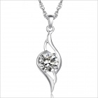 DX024 Stylish Rhinestones Plated Platinum Women's Necklace - Silver
