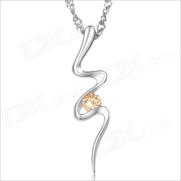 DX021 Stylish Curve Rhinestones Plated Platinum Women's Necklace - Silver