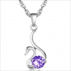 DX029 White Swan Women Style Pendant Plated Platinum Rhinestone Women's Necklace - Silver + Purple