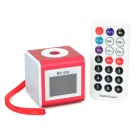 MY-520 Mini Portable Speaker w/ Remote Controller - Wine Red + White