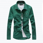 Stylish Men's Slim Long-Sleeved Corduroy Shirt - Green (Size-L)