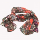 LOOF 5B Stylish Soft Silk Chiffon Women's Scarf Wrap Shawl Stole - Multicolored