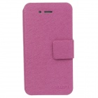 SLDPJ Fashionable Ultra-thin Leather Protective Case for Iphone 4 / 4s - Deep Pink
