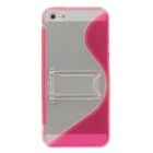 Fashion Plastic Protective Case for Iphone 5 - Deep Pink + Transparent