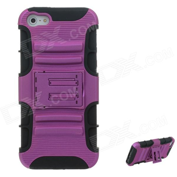 2-in-1 Fashion Silicon + PC Protective Case for Iphone 5 - Purple + Black - DXSilicone Cases<br>Fashion Ultra-slim design leather protection case for iPhone 5G  dust-proof and scratched fine workmanship match with your love machine.<br>