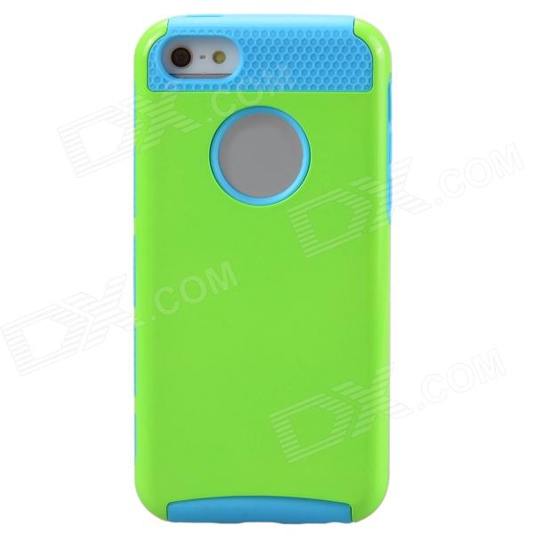 Fashionable Contrast Color PC+TPU Protective Back Case for Iphone 5C - Green + Blue protective pc tpu back case for iphone 5 w anti dust cover lavender purple