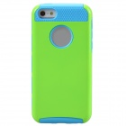 Fashionable Contrast Color PC+TPU Protective Back Case for Iphone 5C - Green + Blue