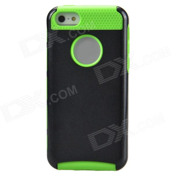 Fashionable Contrast Color PC+TPU Protective Back Case for Iphone 5C - Black + Green protective pc tpu back case for iphone 5 w anti dust cover lavender purple