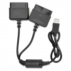 USB PS PS2 To PC Dual Player Adapter Convertor - Black