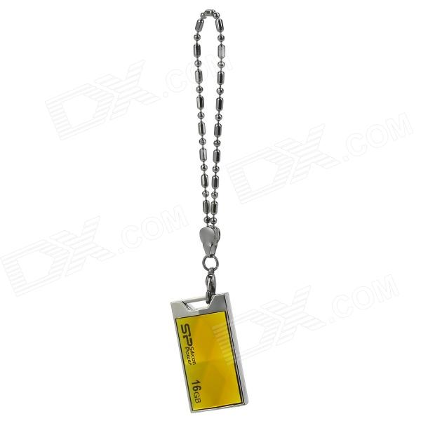 SILICONPOWER TOUCH 850 Water Resistant Shockproof Dust Proof USB Flash Drive - Yellow + Silver (16G)