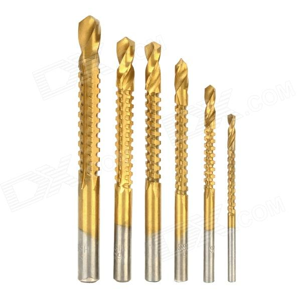High-Speed Steel Drill Bit Set - Golden (6 PCS) autotoolhome 10pc cnc cutter pcb print circuit board carbide micro drill bits tool end milling 0 3mm to 1 2 mm