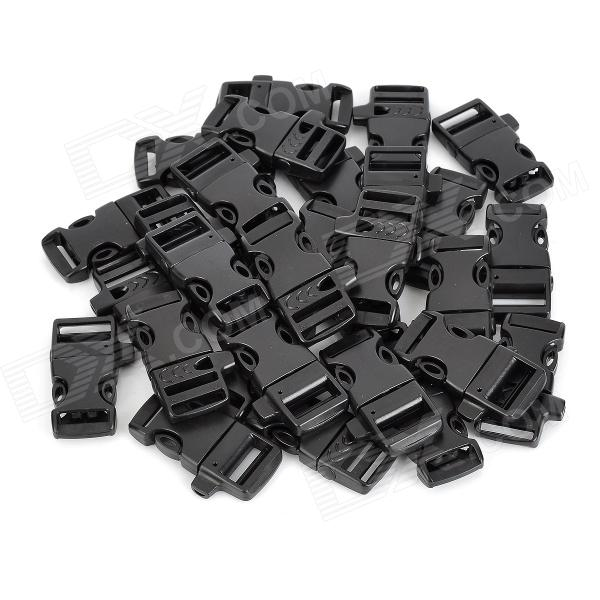 DIY Luggage Strap Belt Clip Plastic w/ Side Release Buckles - Black (30 PCS)