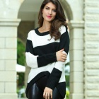 LC27510 Fashionable Round Neck Loose Fit Women's Sweater - Black + White (Size-M)
