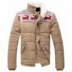 Stylish Fawn Pattern Men's Cotton Jacket - Khaki (Size-XL)