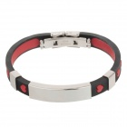 Decompression Anion Silicone Non-Allergy Bracelet - Silver + Black + Red