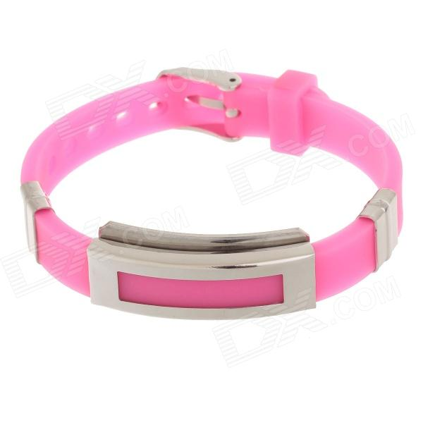 Decompression Anion Silicone Non-Allergy Bracelet - Silver + Pink common mental disorders in long term sickness absence