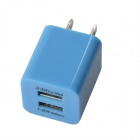 HH040 Universal Dual USB AC Power Charger Adapter for iPhone - Light Blue (AC 100~240 / US Plug)