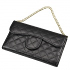 Stylish Plaid Handbag Designed Plastic + PU leather Case w/ Card Slot for Iphone 4 / 4s - Black