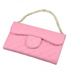 Stylish Plaid Handbag Designed Plastic + PU leather Case w/ Card Slot for Iphone 4 / 4s - Pink