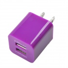 Universal Dual USB AC Power Charger Adapter for iPhone / Samsung - Purple (AC 100~240 / US Plug)