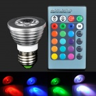 E27 3W 90lm 1-LED RGB Color Spotlight w/ Remote Controller - Silver (AC 85~265V)
