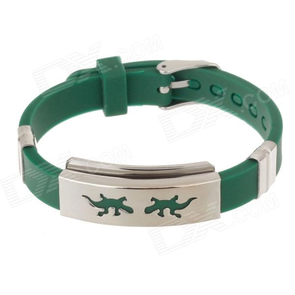 Decompression Anion Silicone Non-Allergy Bracelet - Silver + Green common mental disorders in long term sickness absence