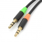 1-to-2 3.5mm Jack Male to Female Audio Extension Cable - Black + Orange + Green