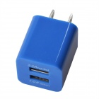 HH040 Universal Dual USB AC Power Charger Adapter for iPhone - Deep Blue (AC 100~240 / US Plug)