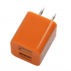 HH040 Universal Dual USB AC Power Charger Adapter for iPhone - Orange (AC 100~240 / US Plug)