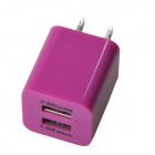 HH040 Universal Dual USB AC Power Charger Adapter for iPhone - Deep Pink (AC 100~240 / US Plug)