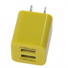 Universal Dual USB AC Power Charger Adapter for iPhone / Samsung - Yellow (AC 100~240 / US Plug)