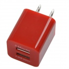 HH040 Universal Dual USB AC Power Charger Adapter for iPhone / Samsung - Red (AC 100~240 / US Plug)