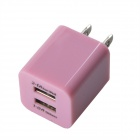 HH040 Universal Dual USB AC Power Charger Adapter for iPhone / Samsung - Pink (AC 100~240 / US Plug)