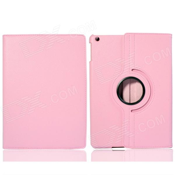Lichee Pattern 360 Degree Rotation PU Leather Case Stand w/ Auto Sleep Cover for Ipad AIR - Pink lichee pattern protective pu leather case cover stand w auto sleep for ipad air 2 green