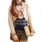 Stylish Rabbit Pattern Pull-on Round Neck Women's Sweater - Khaki + Blue (Size-M)