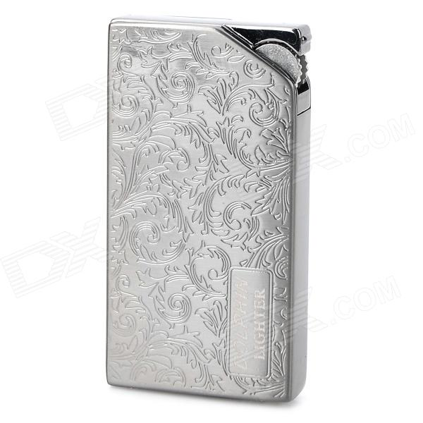 2218 Curly Grass Pattern Zinc Alloy Blue Flame 1300 Degree Gas Butane Jet Lighter - Blackish Grey scorpion pattern windproof dual flame butane gas lighter grey