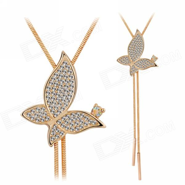 EQute SPEW17C3 Elegant Tassels Rhinestone Butterfly Pendant Necklace - Rose Gold + White (28
