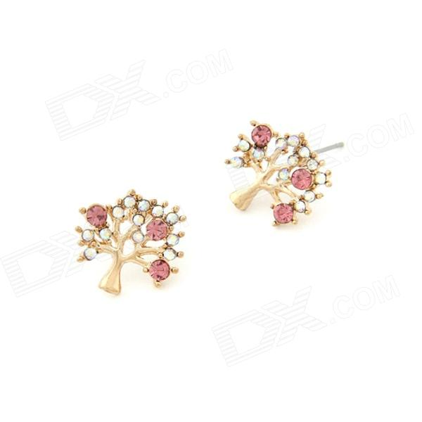 Fashionable Pretty Bling Fruit Tree Style Womens Earrings - Multicolored (Pair) - DXEarrings<br>Color Golden + Multicolored Quantity 2 Piece Material Zinc Alloy + Rhinestone Gender Women Suitable for Adults Length 1.5 cm Width 1.5 cm Packing List 1 x Pair of Earrings<br>