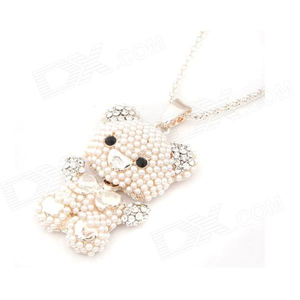 Fashionable Artificial Pearl Bear Style Women's Sweater Chain - Golden