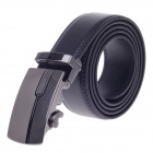 0529 Stylish Men's Cow Split Leather Belt w/ Zinc Alloy Automatic Buckle - Black
