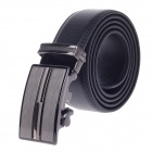 0530 Simple Stylish Men's Cow Split Leather Belt w/ Zinc Alloy Automatic Buckle - Black