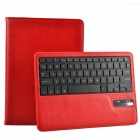 Detachable Wireless Bluetooth V3.0 64-Key Keyboard w/ PU Leather Case for Ipad AIR - Red