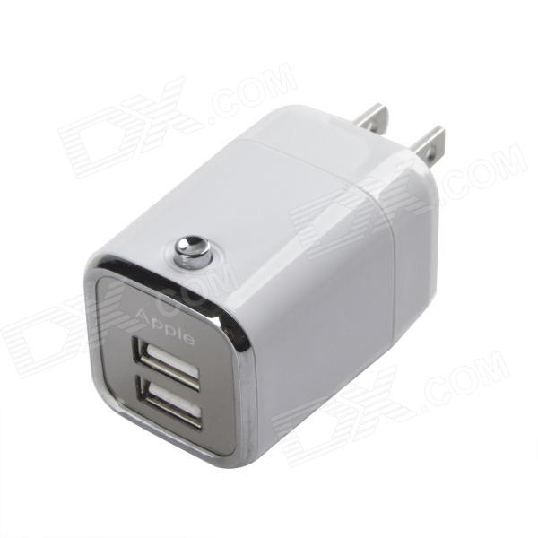 HH050 Dual-USB AC Power Charger Adapter for Iphone / Ipad - White (US Plug / 110~240V)